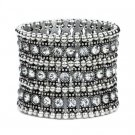 Triple Row Antique Silver Rhinestone Stretch Bracelet