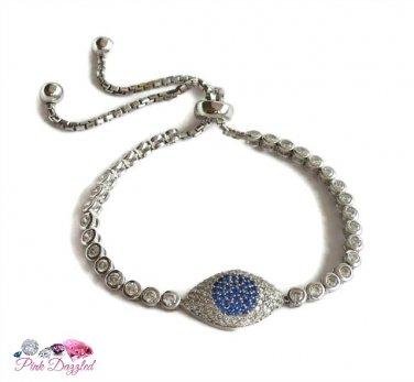 Pave CZ Evil Eye Adjustable Sterling Silver Tennis Bracelet