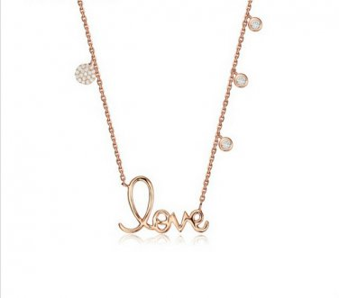 Rose Gold Cubic Zirconia Charm LOVE Necklace