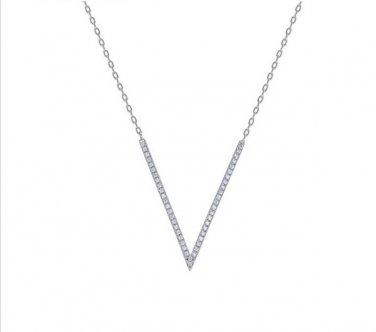 White Gold Cubic Zirconia V Pendant Necklace