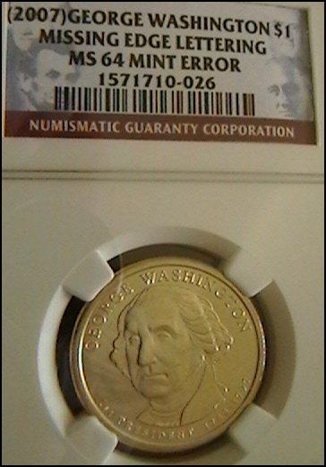 2007 Washington Presidential Dollar Error Coin