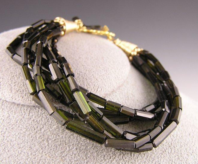 "Green Tourmaline Faceted Barrel Bracelet ""California Sea Grass"""