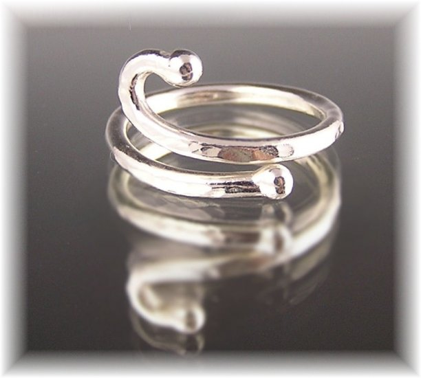 "Fine Silver Abstract Ring ""Bar Bells"""