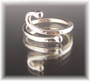 """Fine Silver Abstract Ring """"Bar Bells"""""""