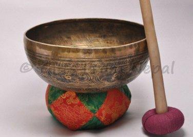 "12"" Hand Hammered/Painted Singing Bowl, Meditation Bowls,Striker&Cushion 2057"