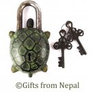 Vintage Tibetan Handmade Antique Finish Brass Turtle/Tortuoise Door Lock - 102L