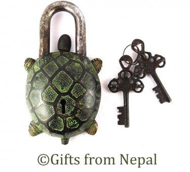 Vintage Tibetan Handmade Antique Finish Brass Turtle/Tortuoise Door Lock - 102L