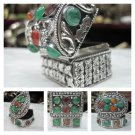 Tibetan Handmade Silver Jewelry Box,Gau, Prayer Box, Gifts from Nepal 100J