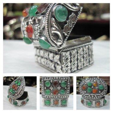 Tibetan Handmade Silver Jewelry Box,Gau, Prayer Box, Gifts from Nepal 100J