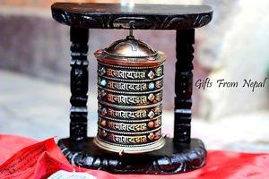 TIBETAN PRAYER WHEEL - Handmade Wooden Mane from Nepal- PRAYER MANEY -DRUM WHEEL