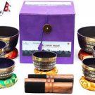 TIBETAN CHAKRA HEALING Buddhist SINGING BOWL~MEDITATION BOWL~SET OF 7- Cushion