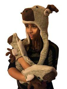 Handmade Knit 100% Wool Unisex Animal Winter Yak Wool Hat,Scarf,Mittens - Nepal