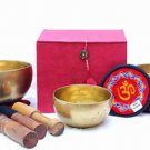 "Tibetan Handmade Chakra Healing Singing Bowl - Set of 3 - 4"",5"" & 6"""