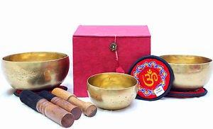 """Tibetan Handmade Chakra Healing Singing Bowl - Set of 3 - 4"""",5"""" & 6"""""""