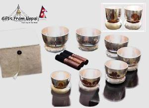 Tibetan Singing Bowl Sets of 7 - Itching Carving Chakra Meditation Singing Bowls