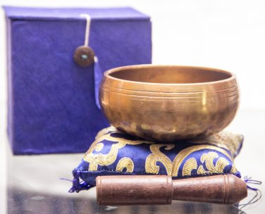 """Tibetan Singing Bowl - 3"""" Handcrafted design Made in Nepal - Blue"""