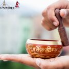 "Tibetan Singing Bowl - 3"" Handcrafted design Made in Nepal - Red"