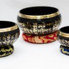 Chakra Healing Singing Bowls -Tibetan Singing Bowl Sets of 3 - Black Chakra Set