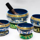 Chakra Healing Singing Bowls -Tibetan Singing Bowl Sets of 4 - Blue Chakra Set