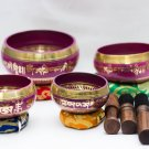 Tibetan Chakra Hand Beaten Singing Bowl - Hand Beaten Healing Set - Set of 4