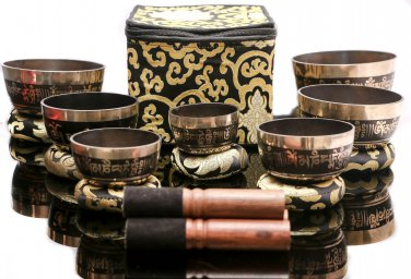 Tibetan Singing Bowl Set of 7-Chakra Healing Meditation Bowls