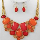Chunky Bead Orange Charm Gold Chain Earring Necklace Set Fashion Costume Jewelry