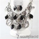 Chunky Beaded Horse Charm Silver Earring Necklace Set Fashion Costume Jewelry