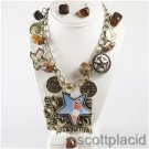 Chunky Western Cowgirl Charm Gold Earring Necklace Set Fashion Costume Jewelry