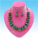 Chunky Beaded Turquoise Charm Gold Earring Necklace Set Fashion Costume Jewelry
