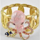 Chunky Pink Fish Octopus Crystal Gold Stretch Fashion Costume Jewelry Bracelet