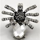 Chunky Clear Crystal Silver Spider Charm Stretch Fashion Costume Jewelry Ring