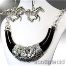 Chunky Black Western Charm Silver Earring Necklace Set Fashion Costume Jewelry