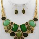 Chunky Bib Green Charm Gold Chain Earring Necklace Set Fashion Costume Jewelry