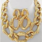 Chunky Choker Gold Chain Art Charm Earring Necklace Set Fashion Costume Jewelry