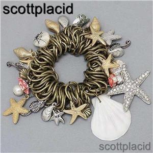Chunky Gold Seashell Beaded Faux Pearl Fashion Costume Jewelry Stretch Bracelet
