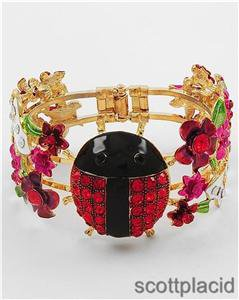 Chunky Gold Ladybug Flower Crystal Fold Over Fashion Costume Jewelry Bracelet