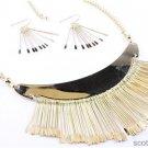 Chunky Bib Gold Chain Dangle Charm Earring Necklace Set Fashion Costume Jewelry