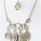 Chunky Bib Gold Chain Ring Charm Earring Necklace Set Fashion Costume Jewelry