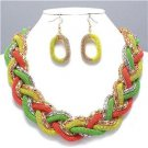 Chunky Bib Rose Gold Silver Chain Earring Necklace Set Fashion Costume Jewelry