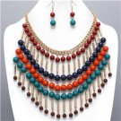 Chunky Red Teal Beaded Gold Chain Earring Necklace Set Fashion Costume Jewelry