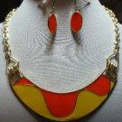 Chunky Bib Orange Yellow Charm Gold Earring Necklace Set Fashion Costume Jewelry