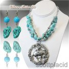 Chunky Bib Turquoise Beaded Charm Earring Necklace Set Fashion Costume Jewelry