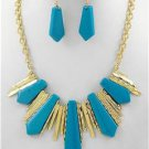 Chunky Blue Acrylic Drop Charm Gold Earring Necklace Set Fashion Costume Jewelry