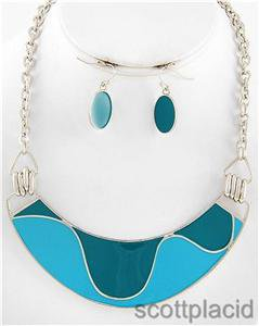 Chunky Turquoise Teal Charm Silver Earring Necklace Set Fashion Costume Jewelry