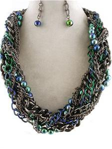 Chunky Beaded Charm Pewter Chain Earring Necklace Set Fashion Costume Jewelry