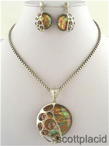 Chunky Colorful Ring Charm Silver Earring Necklace Set Fashion Costume Jewelry
