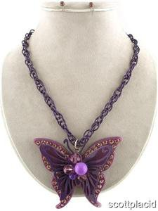 Chunky Bead Purple Butterfly Charm Earring Necklace Set Fashion Costume Jewelry