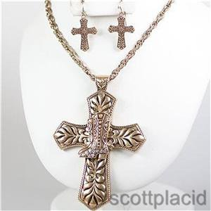 Chunky Cross Boot Charm Gold Chain Earring Necklace Set Fashion Costume Jewelry