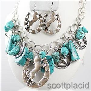 Chunky Beaded Turquoise Horse Charm Earring Necklace Set Fashion Costume Jewelry