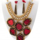 Chunky Red Stone Charm Gold Chain Earring Necklace Set Fashion Costume Jewelry